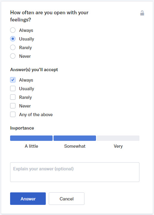 okcupid match questions